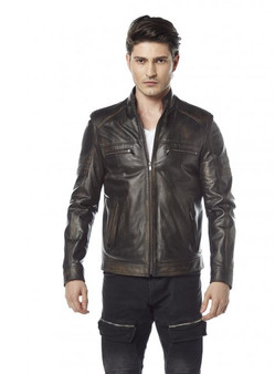 Men's Antique Brown Color Leather Jacket with Wool Blend Lining