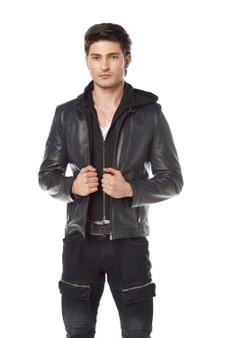 'Men''s Black Leather Hoody Jacket 3588'