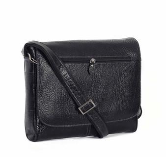 398 Black leather messenger bag
