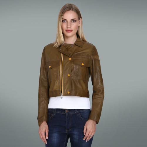 Women's Khaki Jacket with Yellow Zip