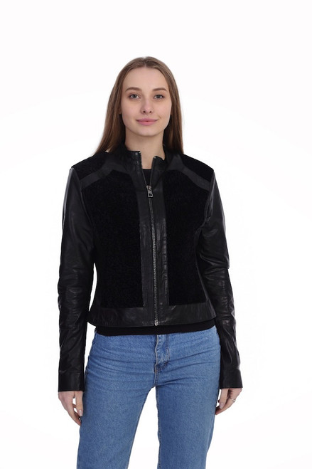 Women's Black Leather Jacket with Lamb Wool Details