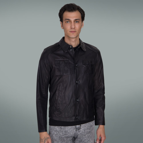 Men's Black Leather Jacket with Blue Lining