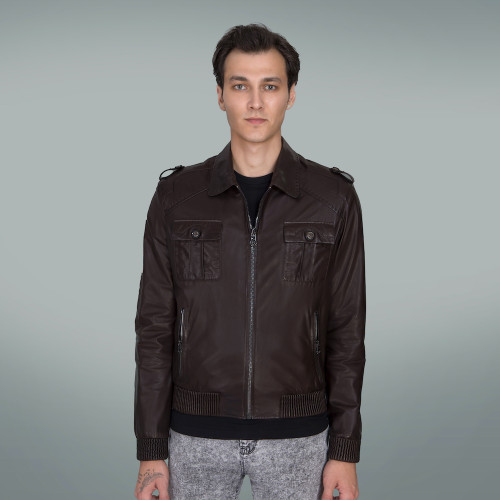 Men's Brown  Leather Jacket Logo