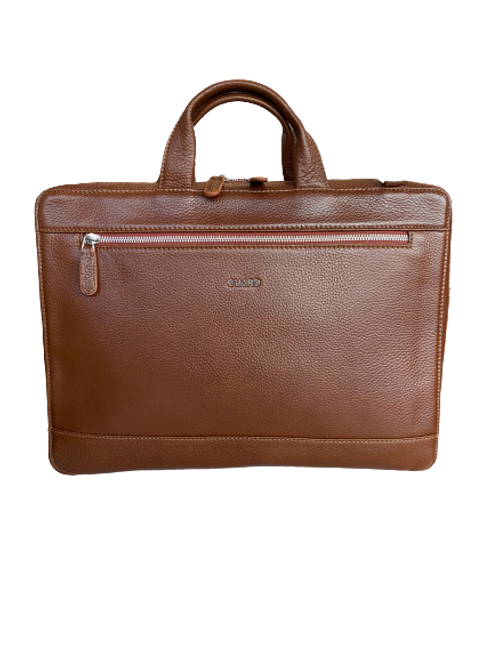 1796 Brown Business Bag Unisex with Zip details