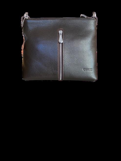 598 Dark Chestnut EL Leather Bag with a Zip detail