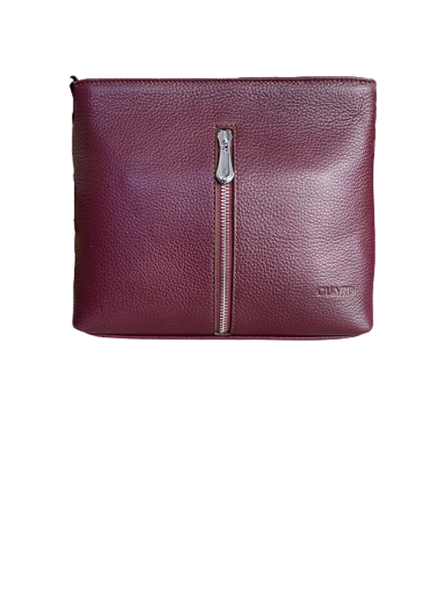 598 Burgundy EL Leather Bag with a Zip detail