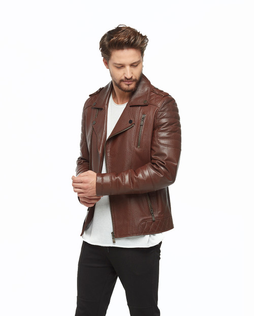 Men's Dark Brown Jacket Zip Ho