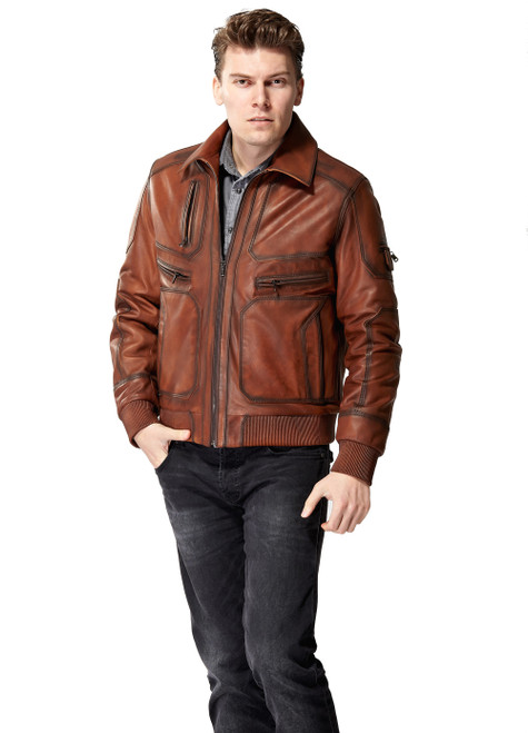 Men's Brown Leather Jacket with Zipped Arm Ho