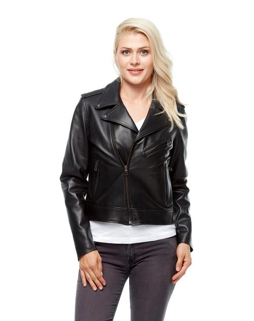 Women's Black Biker Jacket Hopl