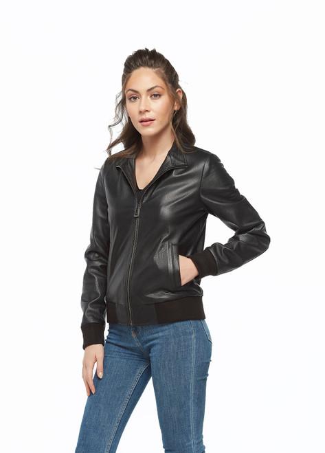 Women's Black Shiny Zipped Jacket Ho