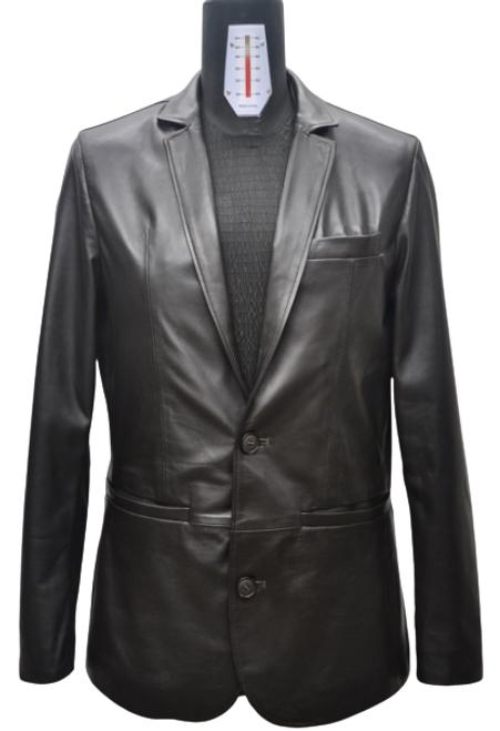 Men's Black Blazer Leather Jacket