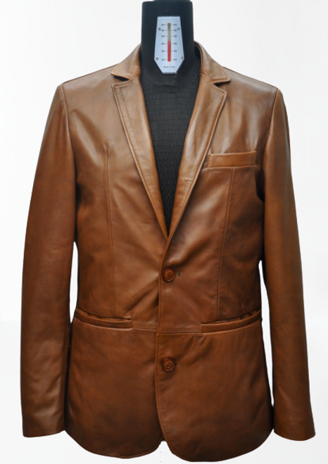 Men's Brown Blazer Leather Jacket