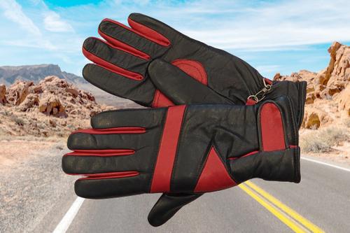 Men's Black and Red Biker Leather Gloves