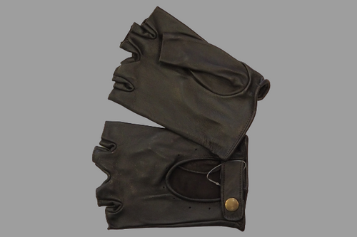 Men's Dark Brown Fingerless Leather Gloves with snap fastener and hole detail