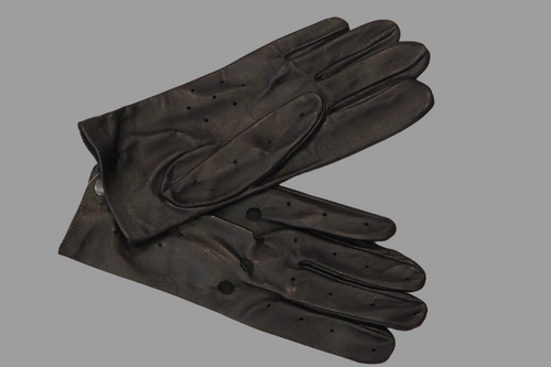 Men's Black Leather Gloves with hole details