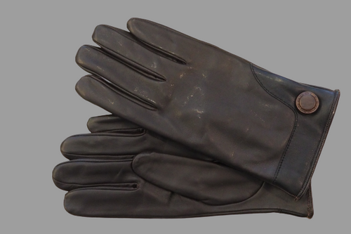 Men's Brown Button Leather Gloves