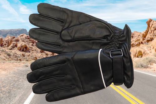 Men's Black Biker Leather Gloves with clasp