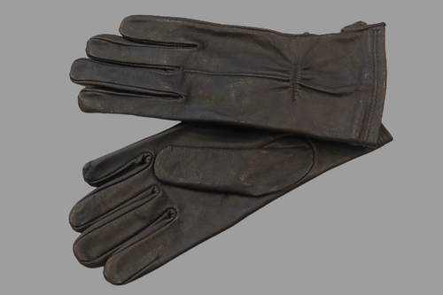 Women's Dark Brown Leather Gloves with single strap and stich details