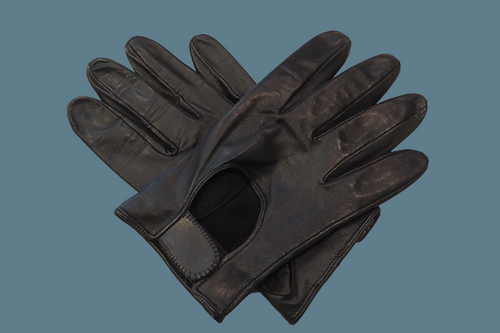 Men's Black Leather Gloves with hook and loop fastener