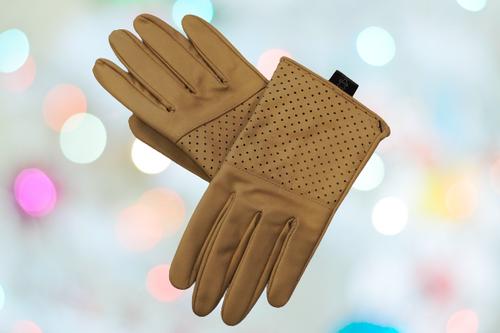 Women's Beige Leather Gloves