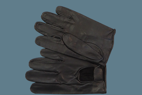Women's Black Leather Gloves with hook and loop fastener