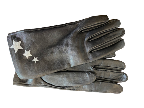Women's Black Leather Gloves with Star details