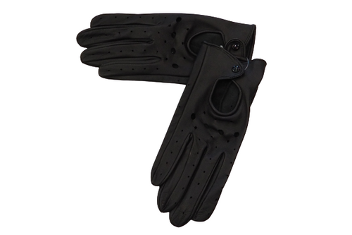 Women's Black Leather Gloves with hole details and black snap fastener