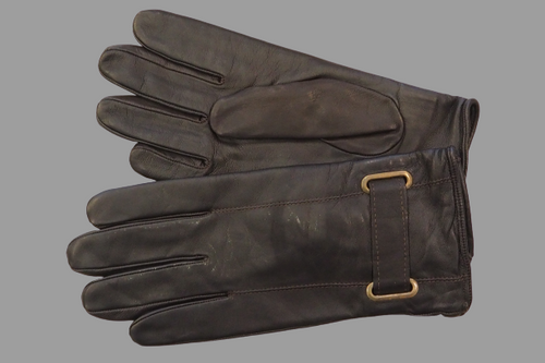 Men's Dark Brown Leather Gloves with clasp