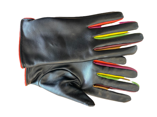 Women's Black Leather Gloves with Colorful Fingers