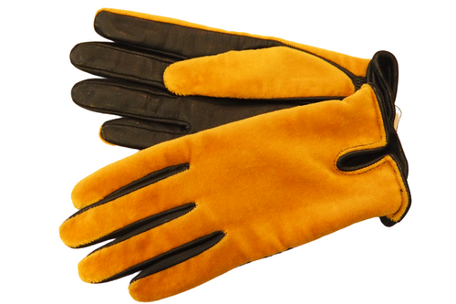 Women's Yellow Furry Texture Leather Gloves