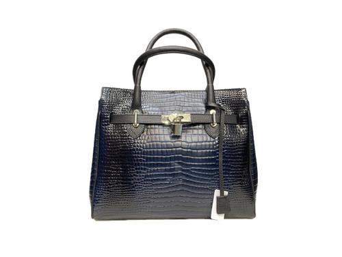 618 Women's Black Croco Leather Bag