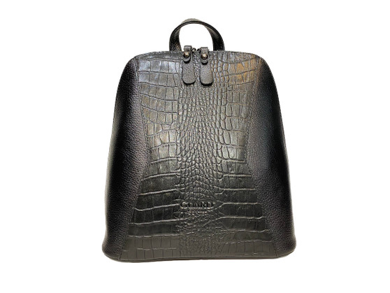 704 Black Croco Leather Backpack & Handbag