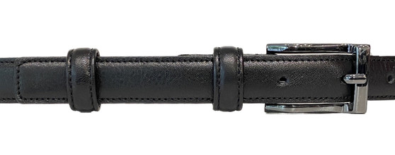 Women's Black Thin Leather Belt Gz