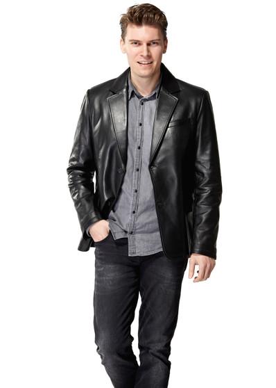 'Men''s Black Leather Blazer  Ho'