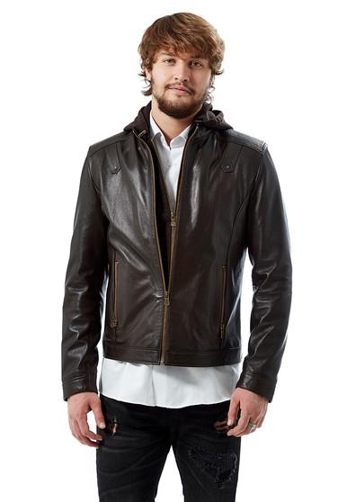 'Men''s Brown Leather Hoody Jacket 3588'