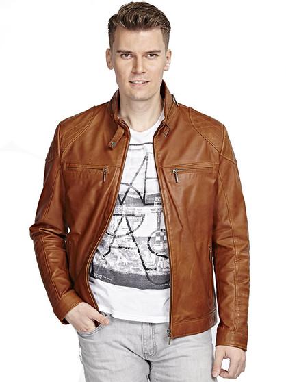 'Men''s Brown Leather Collar Jacket Ho'