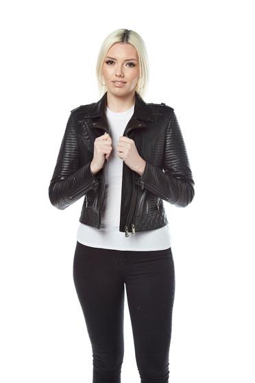 'Women''s Black Biker Leather Jacket 3941'
