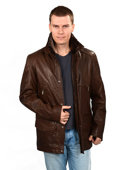 1406 Men's Brown Leather Jacket Fur