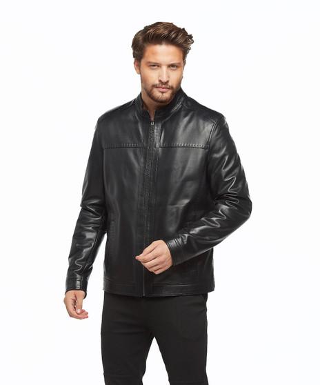 8789 Men's Black Leather Jacket