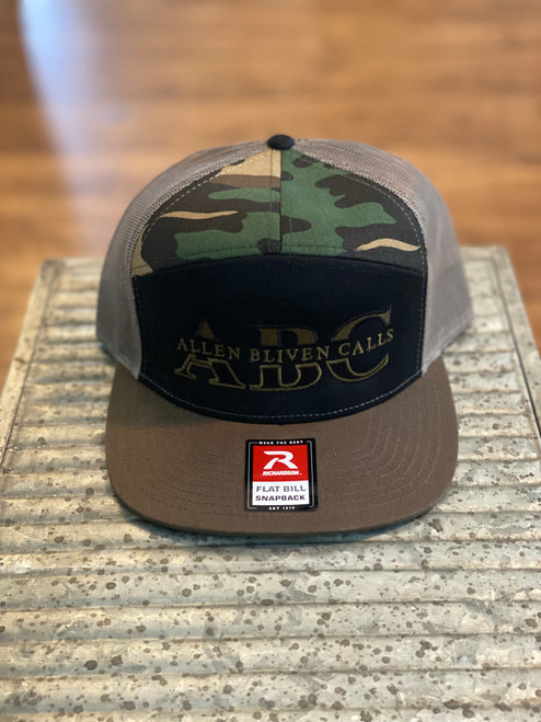 ABC 7-Panel Embroidered Logo Hat - Black/Green Camo/Loden