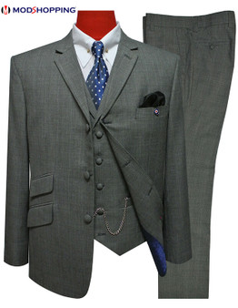 grey prince of wales 3 piece suit 60s mod style.