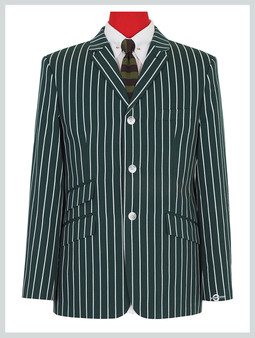 Green striped blazer| 60s mod fashion tailored 3 button striped casual green blazer jacket
