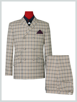 Double Breasted Suit   Classic 60's Vintage Beige Check