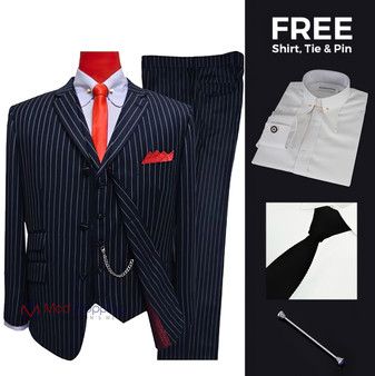 Suit deals | Buy 1 (60s mod clothing white stripe in navy blue 3 piece suit) & get free 3 products