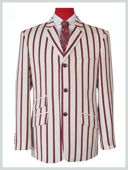 Red striped off-white blazer| 60s mod fashion tailored 3 button striped casual red off-white blazer jacket
