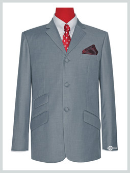 Blazer jacket | Tailored 3 Button Light Grey Mod Blazer For Men