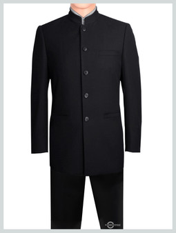 Nehru Collar Black Suit Tailored 5 Button Suit