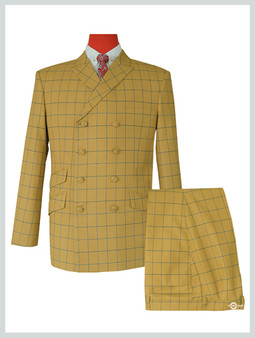 Double Breasted Sunflower Windowpane Check Suit