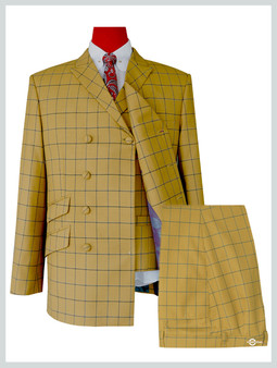 Double Breasted | Sunflower Windowpane Check 3 Piece Suit