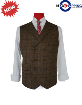 modshopping | Coffee Brown Color Navy Blue & Black Check Waist Coat  For Man